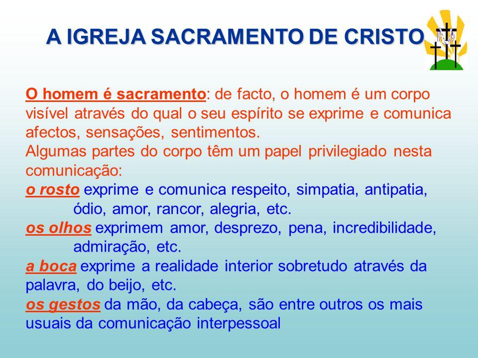 O homem é sacramento: de facto, o homem é um corpo visível através do qual o seu espírito se exprime e comunica afectos, sensações, sentimentos.