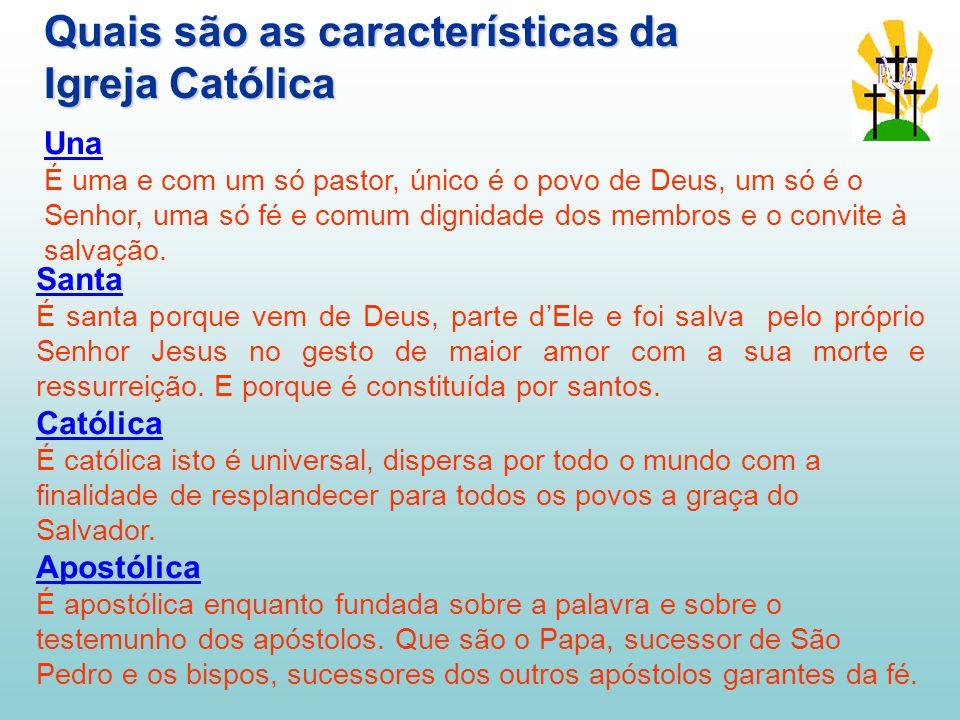 Quais são as características da Igreja Católica Santa É santa porque vem de Deus, parte d'Ele e foi salva pelo próprio Senhor Jesus no gesto de maior amor com a sua morte e ressurreição.