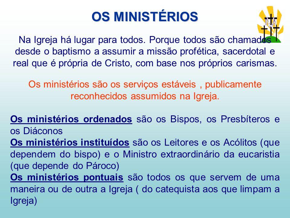 OS MINISTÉRIOS Na Igreja há lugar para todos.