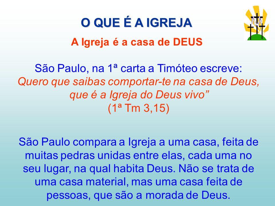 São Paulo, na 1ª carta a Timóteo escreve: Quero que saibas comportar-te na casa de Deus, que é a Igreja do Deus vivo (1ª Tm 3,15) São Paulo compara a Igreja a uma casa, feita de muitas pedras unidas entre elas, cada uma no seu lugar, na qual habita Deus.