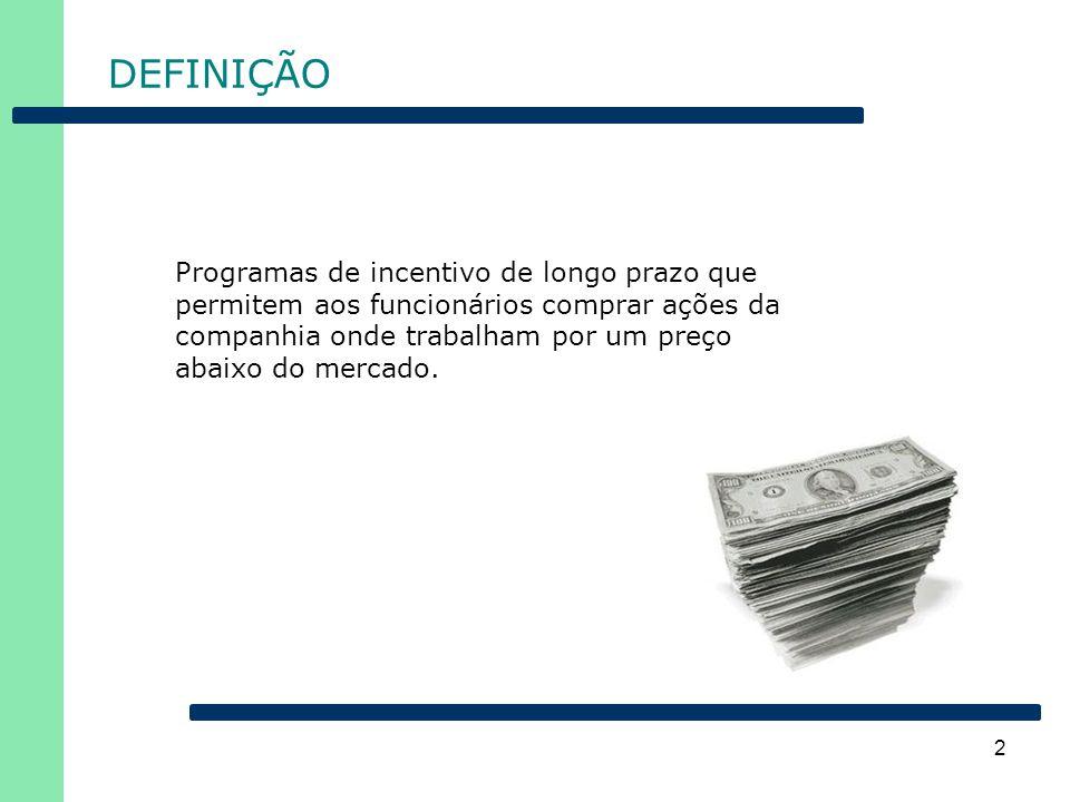2 DEFINIÇÃO Programas de incentivo de longo prazo que permitem aos funcionários comprar ações da companhia onde trabalham por um preço abaixo do merca