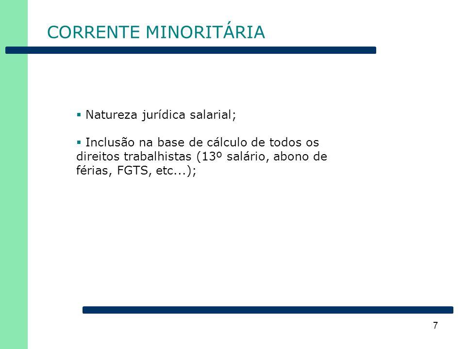 7 CORRENTE MINORITÁRIA  Natureza jurídica salarial;  Inclusão na base de cálculo de todos os direitos trabalhistas (13º salário, abono de férias, FG