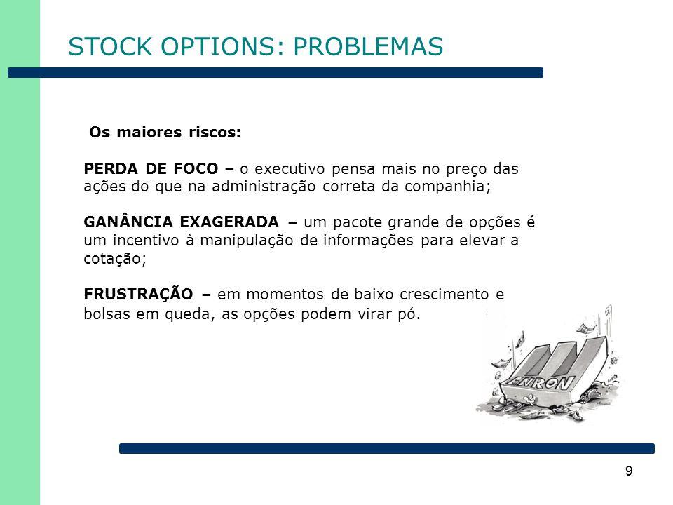 9 STOCK OPTIONS: PROBLEMAS Os maiores riscos: PERDA DE FOCO – o executivo pensa mais no preço das ações do que na administração correta da companhia;