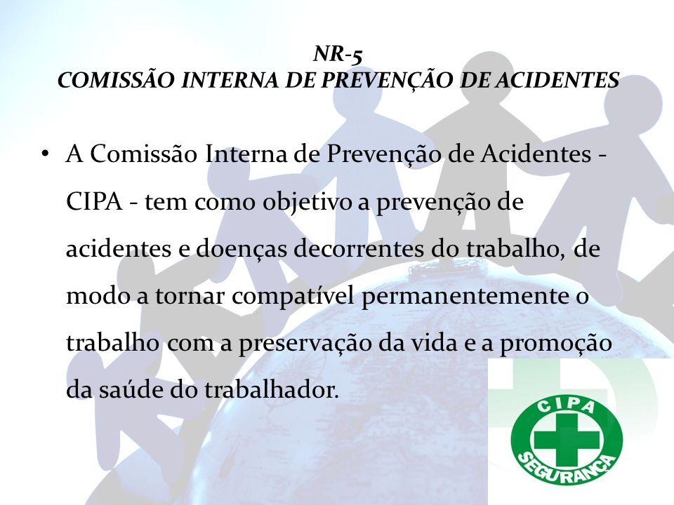 NR-5 COMISSÃO INTERNA DE PREVENÇÃO DE ACIDENTES A Comissão Interna de Prevenção de Acidentes - CIPA - tem como objetivo a prevenção de acidentes e doe