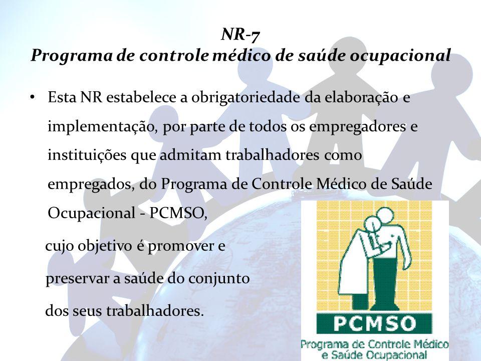 NR-7 Programa de controle médico de saúde ocupacional Esta NR estabelece a obrigatoriedade da elaboração e implementação, por parte de todos os empreg