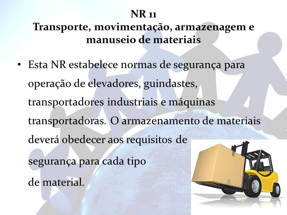 NR 11 Transporte, movimentação, armazenagem e manuseio de materiais Esta NR estabelece normas de segurança para operação de elevadores, guindastes, tr
