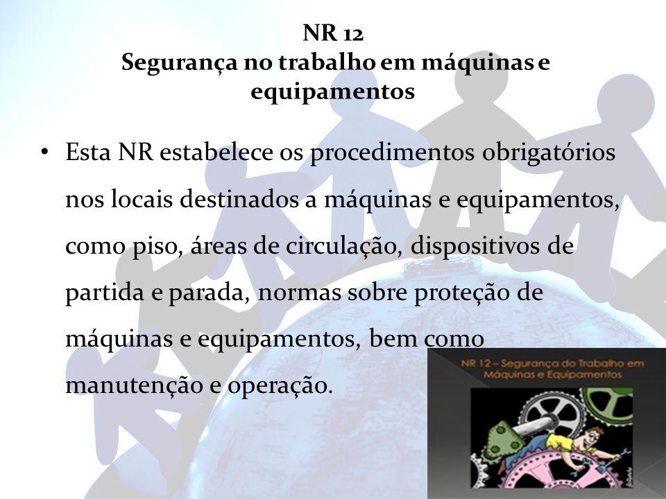 NR 12 Segurança no trabalho em máquinas e equipamentos Esta NR estabelece os procedimentos obrigatórios nos locais destinados a máquinas e equipamento
