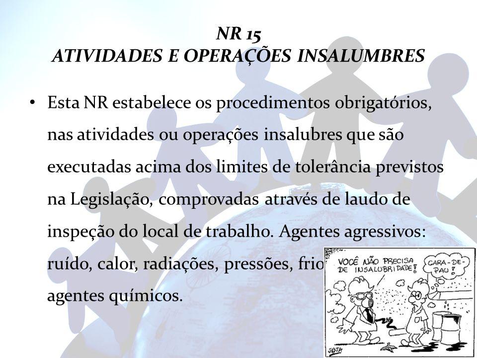 NR 15 ATIVIDADES E OPERAÇÕES INSALUMBRES Esta NR estabelece os procedimentos obrigatórios, nas atividades ou operações insalubres que são executadas a