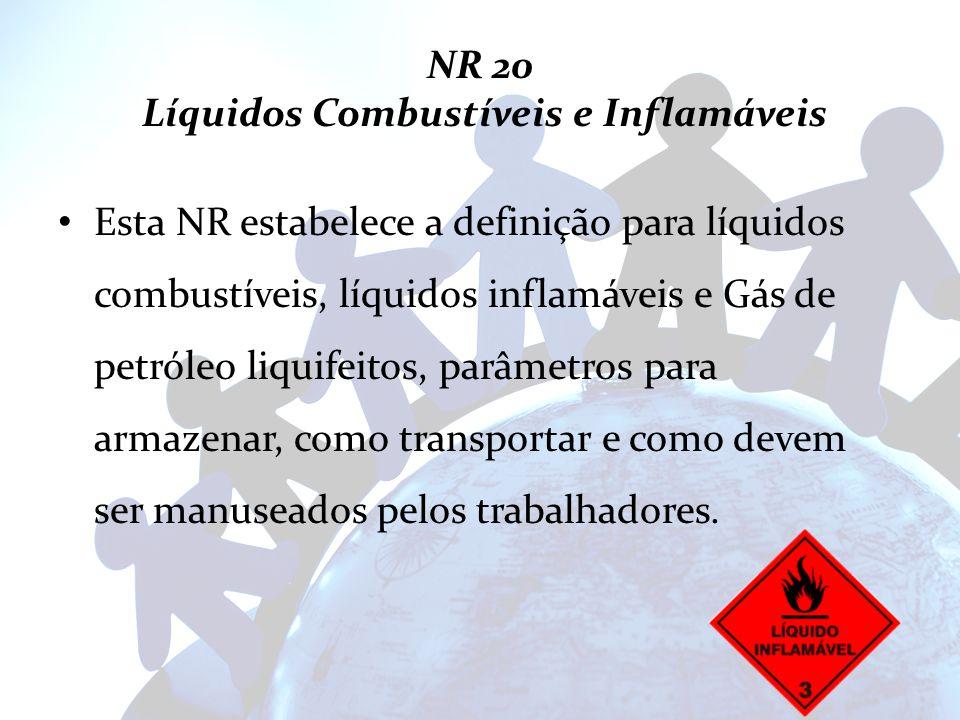 NR 20 Líquidos Combustíveis e Inflamáveis Esta NR estabelece a definição para líquidos combustíveis, líquidos inflamáveis e Gás de petróleo liquifeito