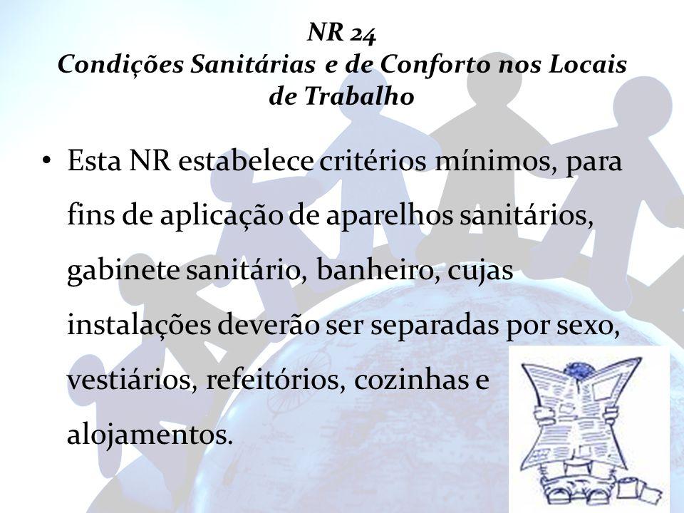 NR 24 Condições Sanitárias e de Conforto nos Locais de Trabalho Esta NR estabelece critérios mínimos, para fins de aplicação de aparelhos sanitários,