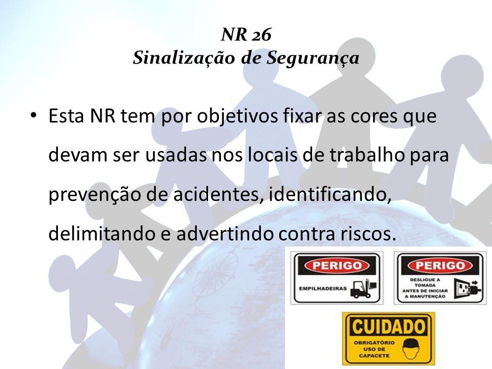NR 26 Sinalização de Segurança Esta NR tem por objetivos fixar as cores que devam ser usadas nos locais de trabalho para prevenção de acidentes, ident