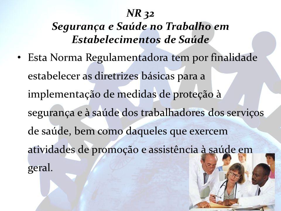 NR 32 Segurança e Saúde no Trabalho em Estabelecimentos de Saúde Esta Norma Regulamentadora tem por finalidade estabelecer as diretrizes básicas para