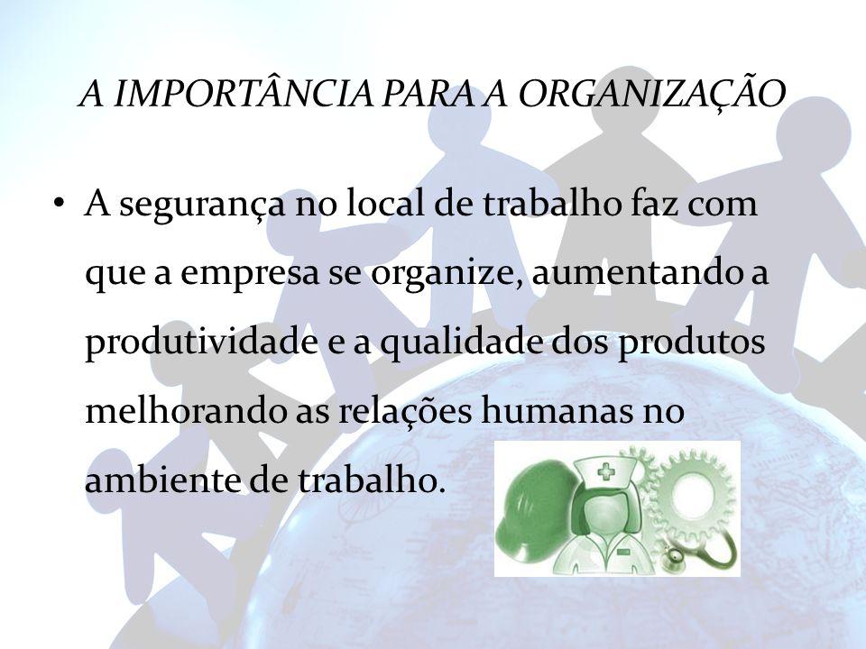 A IMPORTÂNCIA PARA A ORGANIZAÇÃO A segurança no local de trabalho faz com que a empresa se organize, aumentando a produtividade e a qualidade dos prod