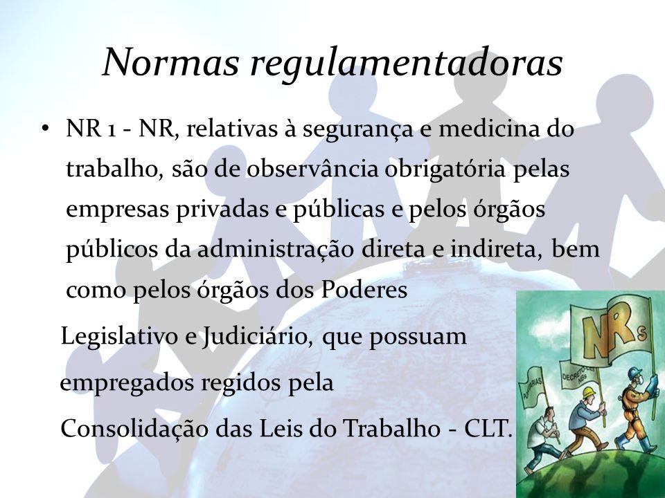 Normas regulamentadoras NR 1 - NR, relativas à segurança e medicina do trabalho, são de observância obrigatória pelas empresas privadas e públicas e p