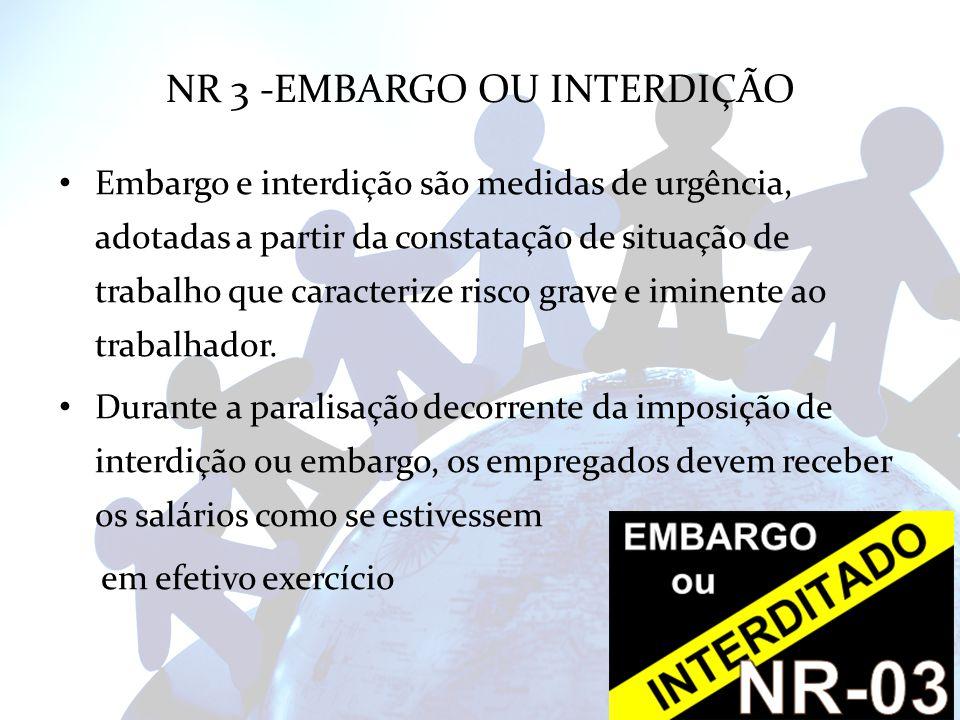 NR 3 -EMBARGO OU INTERDIÇÃO Embargo e interdição são medidas de urgência, adotadas a partir da constatação de situação de trabalho que caracterize ris