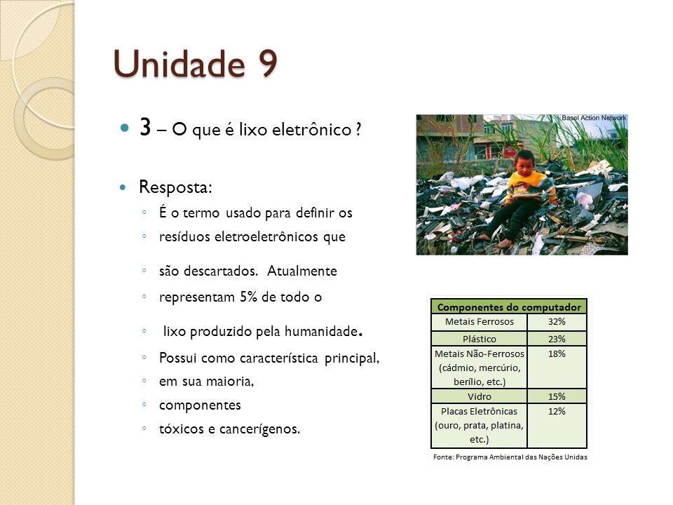 Unidade 9 3 – O que é lixo eletrônico .