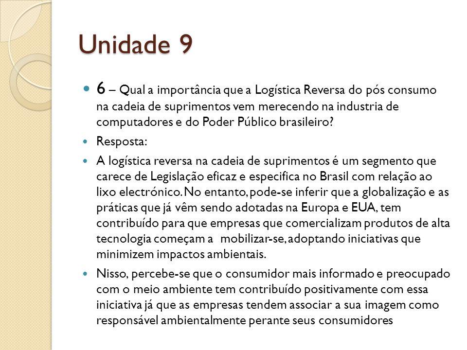 Unidade 9 6 – Qual a importância que a Logística Reversa do pós consumo na cadeia de suprimentos vem merecendo na industria de computadores e do Poder Público brasileiro.