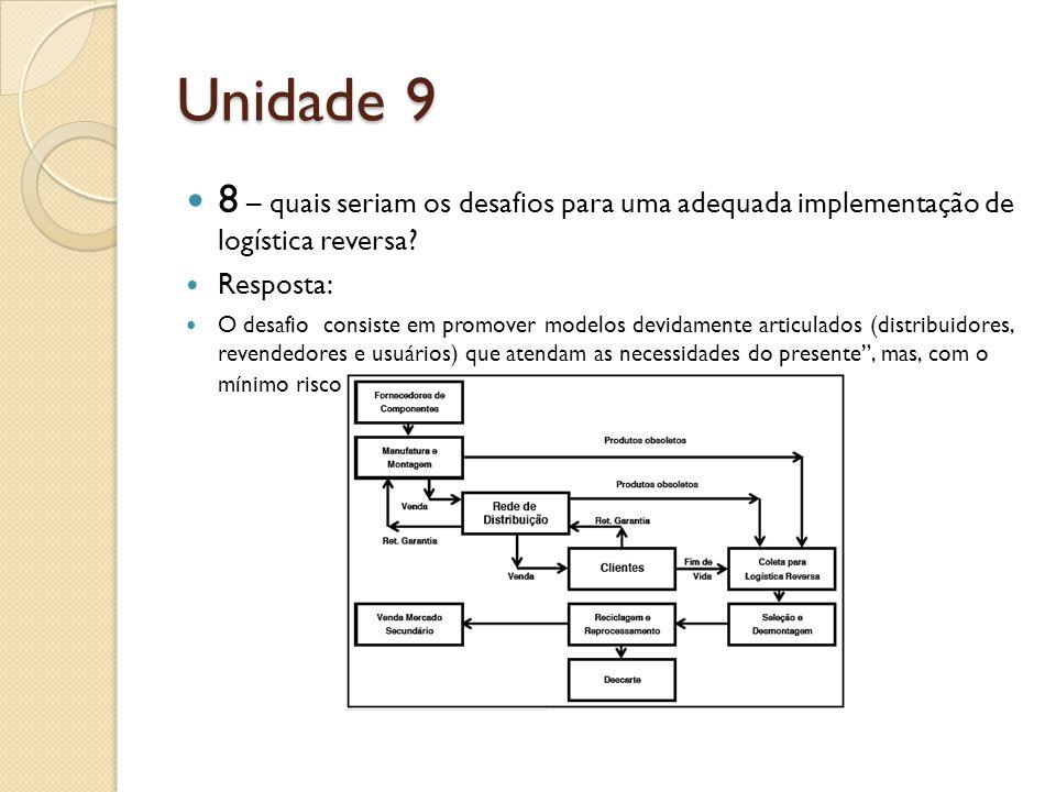 Unidade 9 8 – quais seriam os desafios para uma adequada implementação de logística reversa.