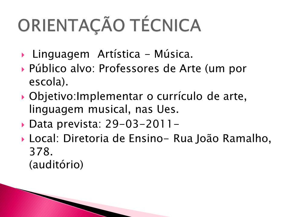 Linguagem Artística - Música.  Público alvo: Professores de Arte (um por escola).  Objetivo:Implementar o currículo de arte, linguagem musical, na