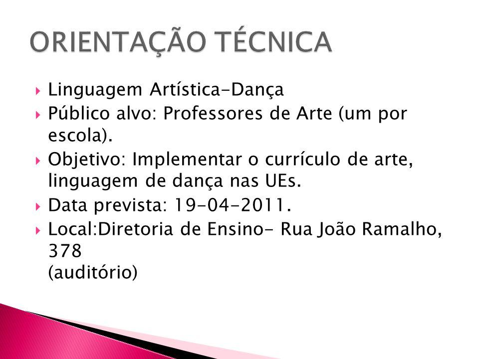  Linguagem Artística-Dança  Público alvo: Professores de Arte (um por escola).  Objetivo: Implementar o currículo de arte, linguagem de dança nas U