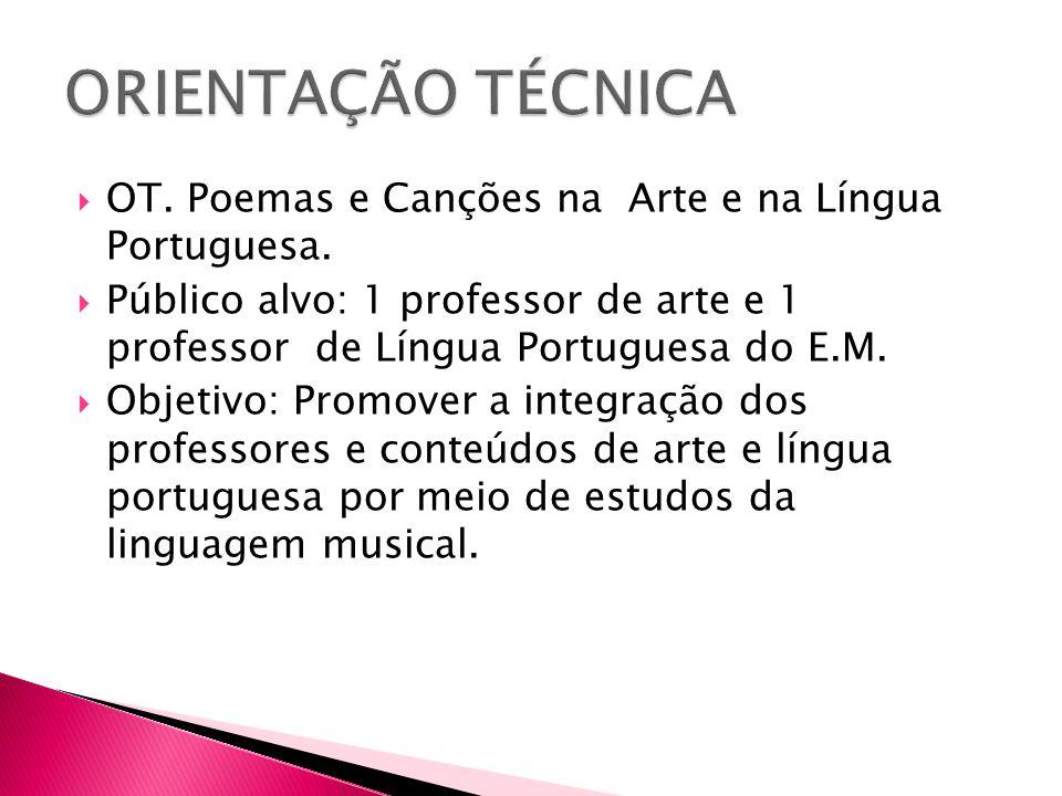  OT. Poemas e Canções na Arte e na Língua Portuguesa.  Público alvo: 1 professor de arte e 1 professor de Língua Portuguesa do E.M.  Objetivo: Prom