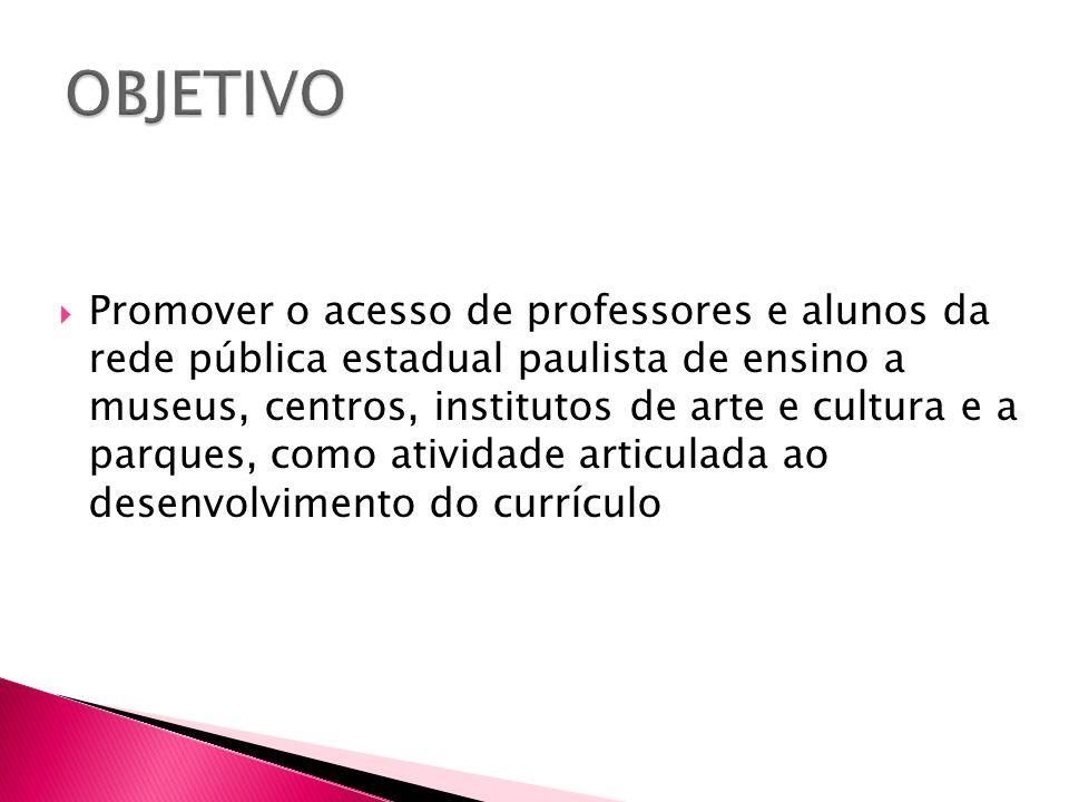  Promover o acesso de professores e alunos da rede pública estadual paulista de ensino a museus, centros, institutos de arte e cultura e a parques, c