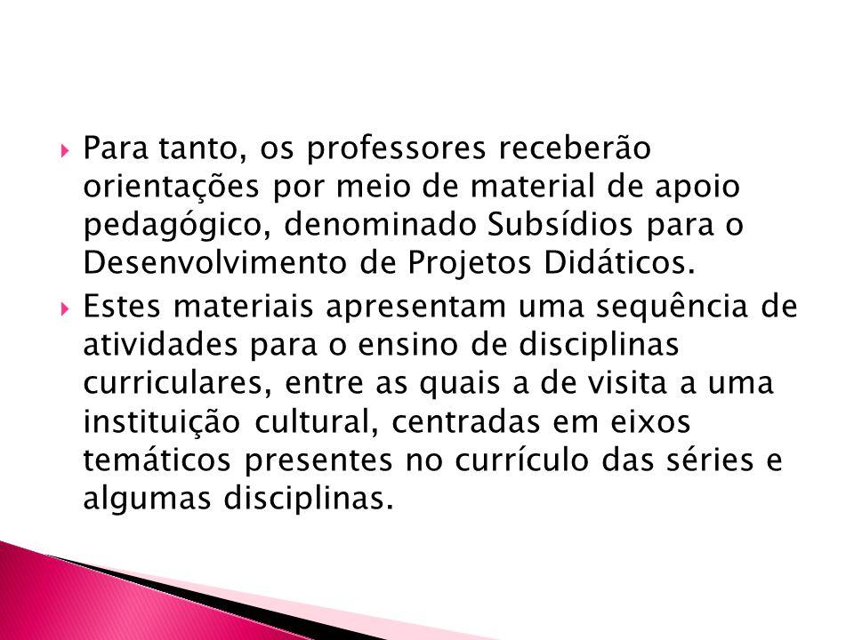  Para tanto, os professores receberão orientações por meio de material de apoio pedagógico, denominado Subsídios para o Desenvolvimento de Projetos D