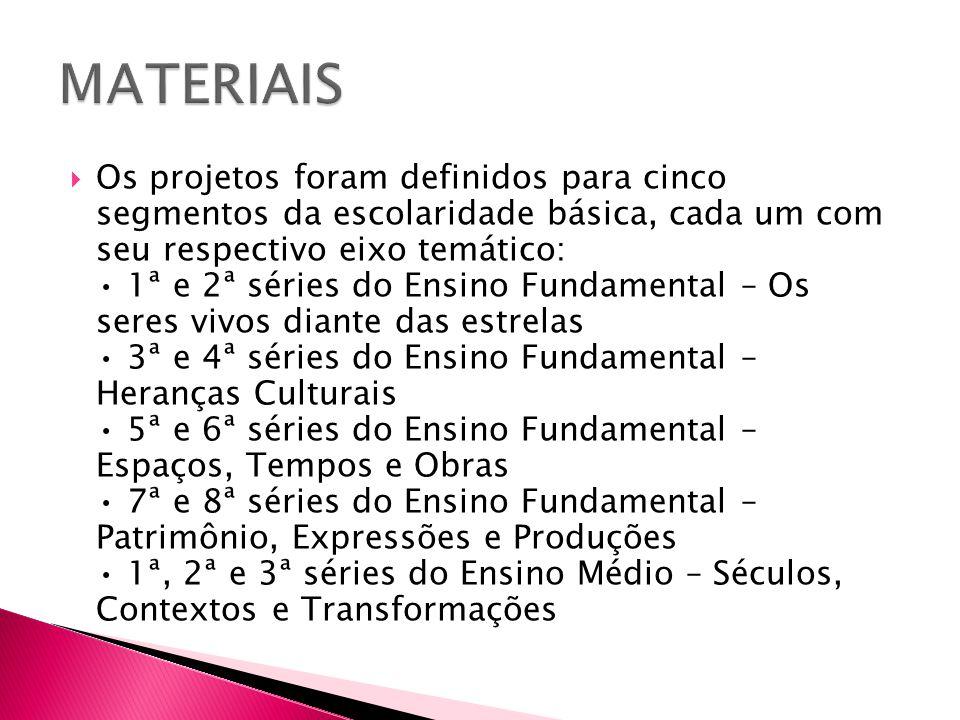  Os projetos foram definidos para cinco segmentos da escolaridade básica, cada um com seu respectivo eixo temático: 1ª e 2ª séries do Ensino Fundamen