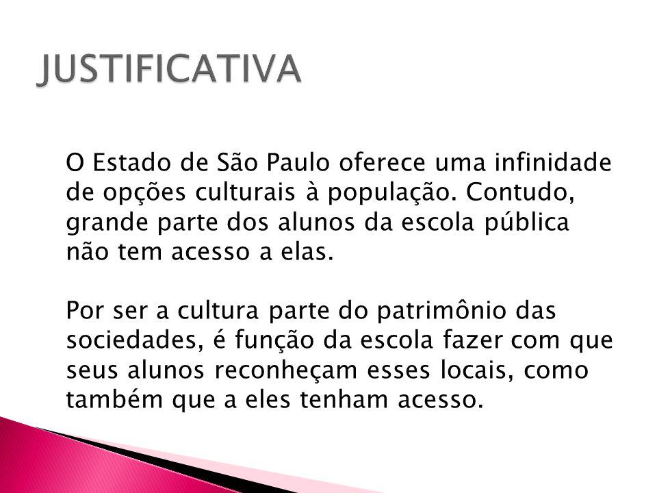 O Estado de São Paulo oferece uma infinidade de opções culturais à população. Contudo, grande parte dos alunos da escola pública não tem acesso a elas