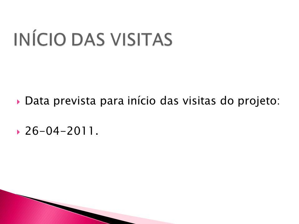  Data prevista para início das visitas do projeto:  26-04-2011.