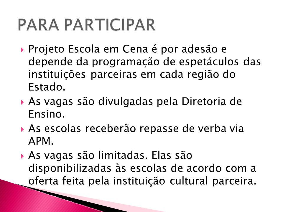  Projeto Escola em Cena é por adesão e depende da programação de espetáculos das instituições parceiras em cada região do Estado.  As vagas são divu