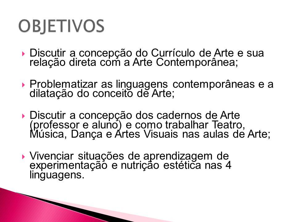 Discutir a concepção do Currículo de Arte e sua relação direta com a Arte Contemporânea;  Problematizar as linguagens contemporâneas e a dilatação