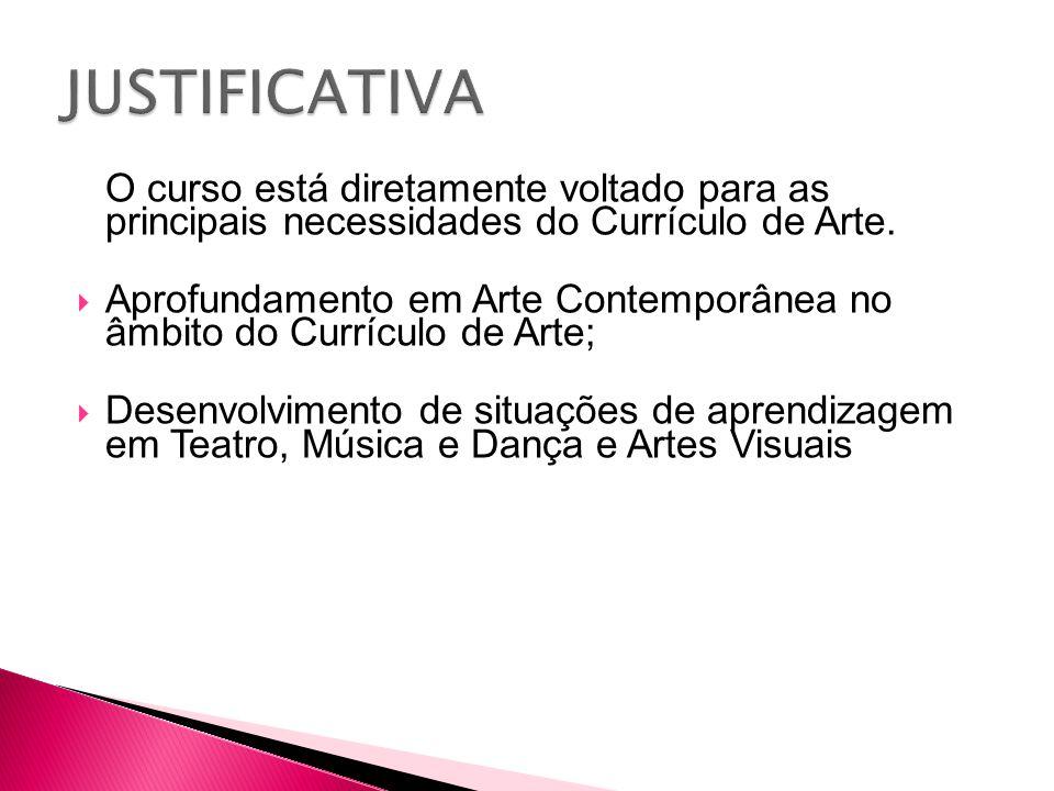O curso está diretamente voltado para as principais necessidades do Currículo de Arte.  Aprofundamento em Arte Contemporânea no âmbito do Currículo d