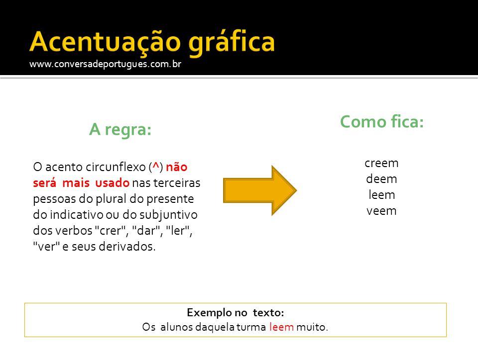 www.conversadeportugues.com.br A regra: O acento circunflexo (^) não será mais usado nas terceiras pessoas do plural do presente do indicativo ou do s
