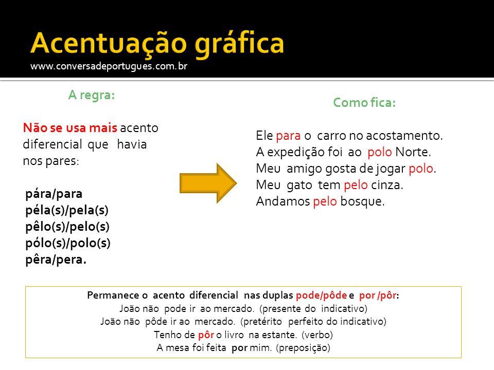 www.conversadeportugues.com.br A regra: Não se usa mais acento diferencial que havia nos pares: pára/para péla(s)/pela(s) pêlo(s)/pelo(s) pólo(s)/polo