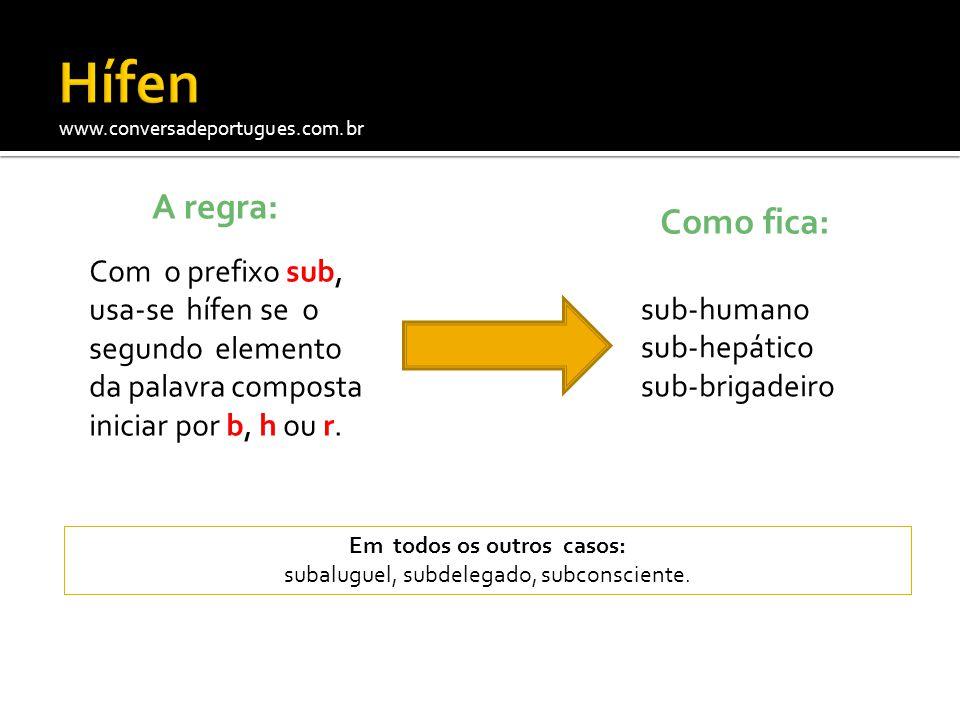 www.conversadeportugues.com.br A regra: Com o prefixo sub, usa-se hífen se o segundo elemento da palavra composta iniciar por b, h ou r. Como fica: su