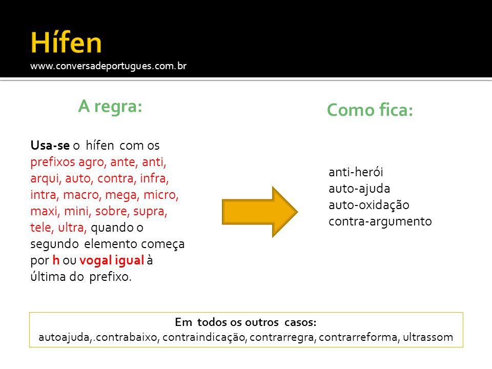 www.conversadeportugues.com.br A regra: Usa-se o hífen com os prefixos agro, ante, anti, arqui, auto, contra, infra, intra, macro, mega, micro, maxi,