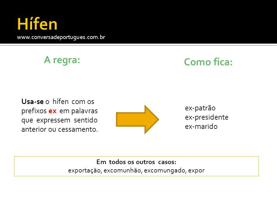 www.conversadeportugues.com.br A regra: Usa-se o hífen com os prefixos ex em palavras que expressem sentido anterior ou cessamento. Como fica: ex-patr