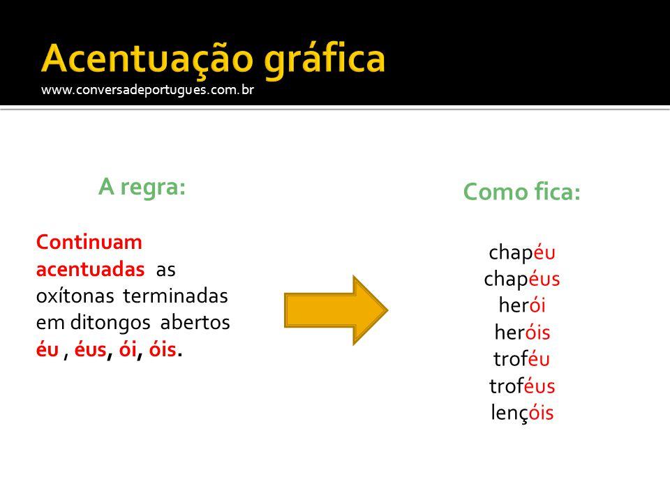 www.conversadeportugues.com.br A regra: O acento circunflexo (^) não será mais usado nas terceiras pessoas do plural do presente do indicativo ou do subjuntivo dos verbos crer , dar , ler , ver e seus derivados.