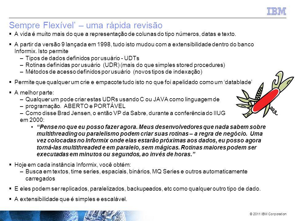 © 2011 IBM Corporation Agenda  Alguns preparativos e introduções  Uma pequena história  'Sempre Online'  'Sempre Inteligente'  'Sempre Flexível'  'Sempre Veloz'  'Sempre Seguro'  Sumário  Questões/Respostas