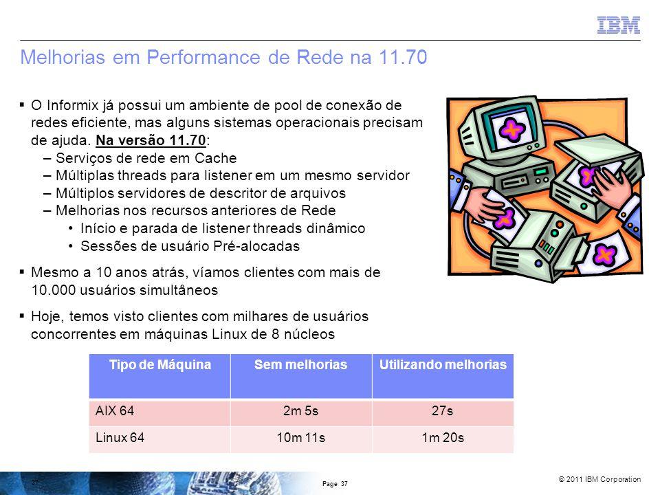 © 2011 IBM Corporation Índice Floresta de Árvores (FOT Index)  Reduz a contenção no nó raiz de um índice  Vários nós do tipo raiz Page 36 create index index_2 on TAB1( C1, C2 ) hash on ( C1 ) with 3 buckets;