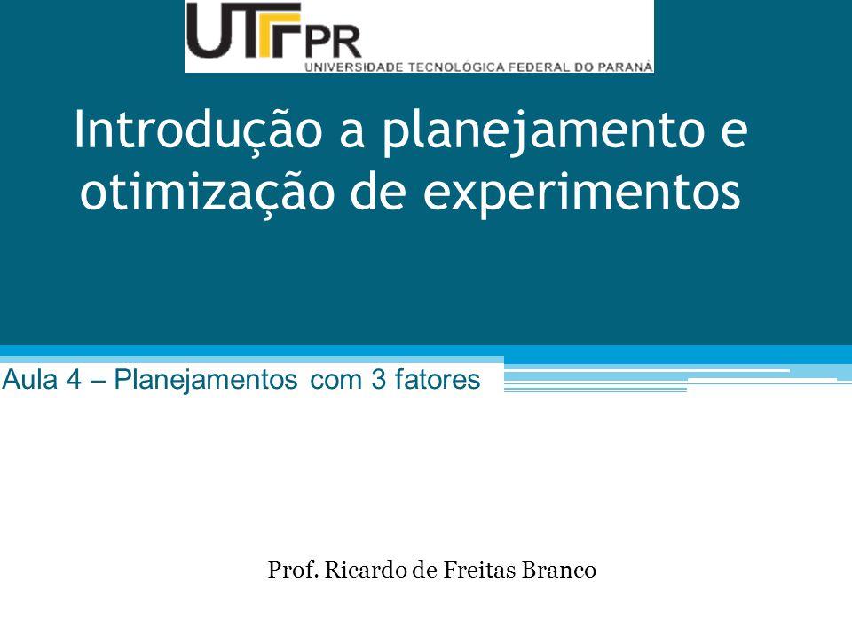 Introdução a planejamento e otimização de experimentos Aula 4 – Planejamentos com 3 fatores Prof.