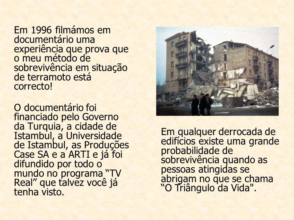Em 1996 filmámos em documentário uma experiência que prova que o meu método de sobrevivência em situação de terramoto está correcto.