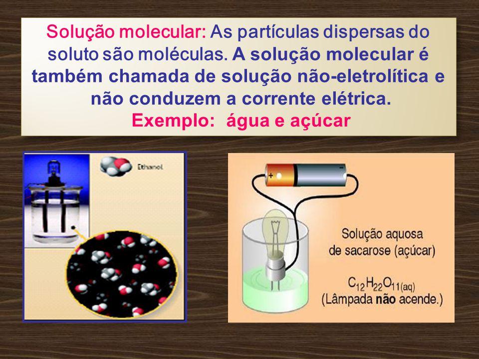 Solução molecular: As partículas dispersas do soluto são moléculas.