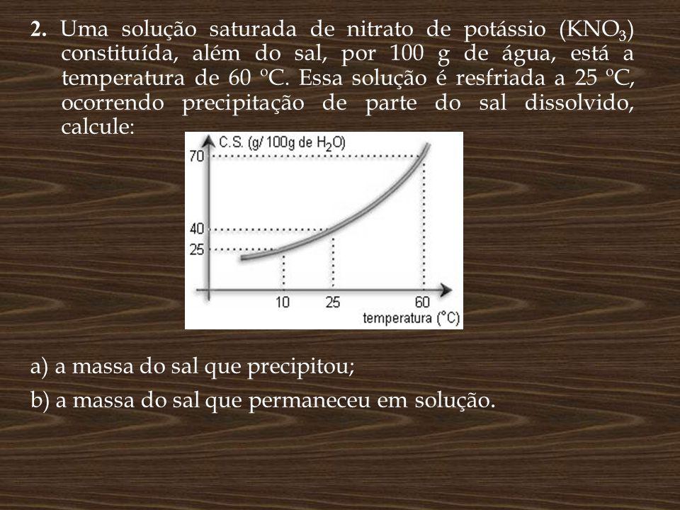 2. Uma solução saturada de nitrato de potássio (KNO 3 ) constituída, além do sal, por 100 g de água, está a temperatura de 60 ºC. Essa solução é resfr