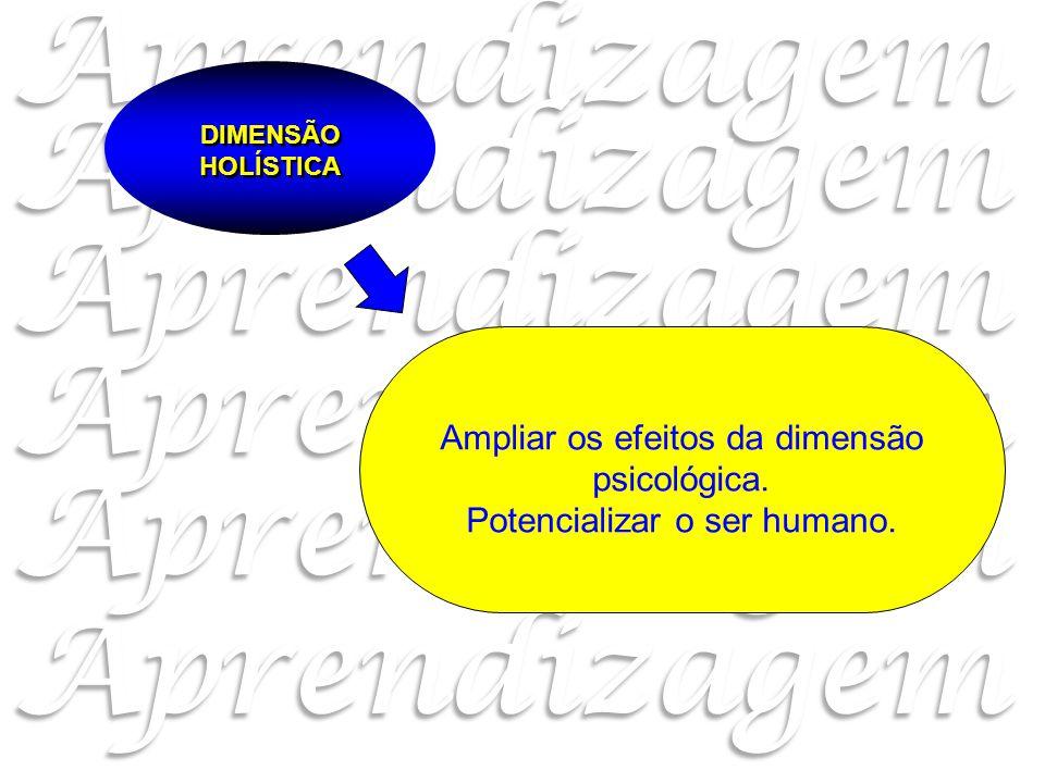 Ampliar os efeitos da dimensão psicológica. Potencializar o ser humano. DIMENSÃO HOLÍSTICA