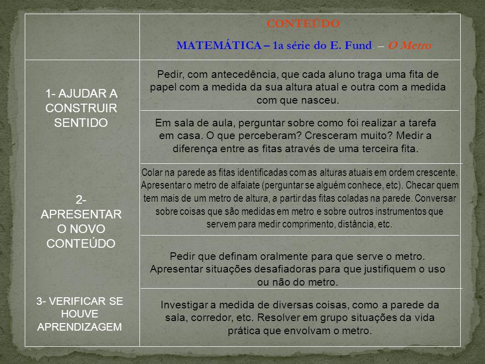 CONTEÚDO MATEMÁTICA – 1a série do E. Fund. – O Metro Pedir, com antecedência, que cada aluno traga uma fita de papel com a medida da sua altura atual