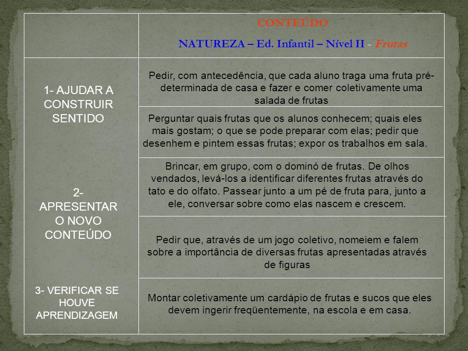 CONTEÚDO NATUREZA – Ed. Infantil – Nível II - Frutas Pedir, com antecedência, que cada aluno traga uma fruta pré- determinada de casa e fazer e comer