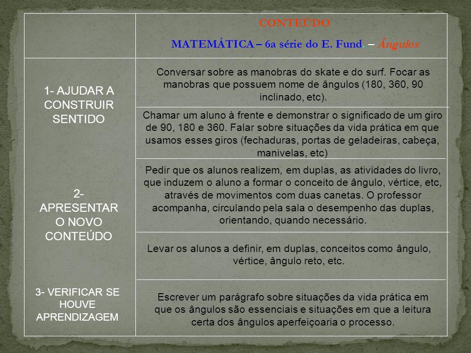 CONTEÚDO MATEMÁTICA – 6a série do E.Fund.