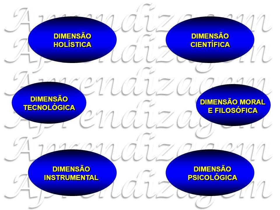 DIMENSÃO MORAL E FILOSÓFICA DIMENSÃO CIENTÍFICA DIMENSÃO TECNOLÓGICA DIMENSÃO PSICOLÓGICA DIMENSÃO HOLÍSTICA DIMENSÃO INSTRUMENTAL